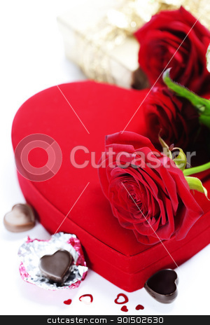 red roses and hearts for Valentine's Day stock photo, red roses  and chocolate hearts for Valentine's Day by klenova