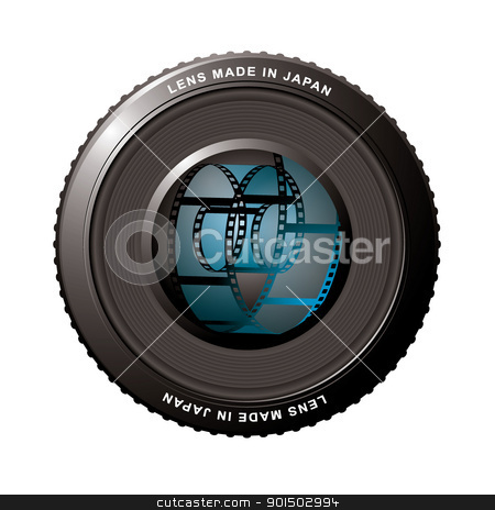 Lens shutter with film stock vector clipart, Digital camera lens with old fashioned film roll by Michael Travers