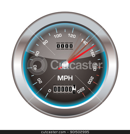 Speedometer stock vector clipart, Speedometer icon with silver bevel and light reflection by Michael Travers