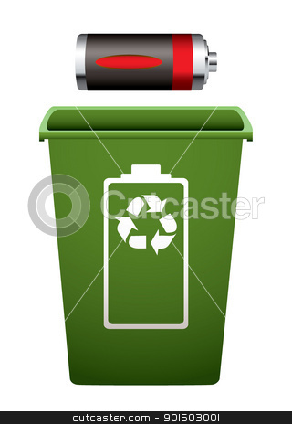 Recycle battery stock vector clipart, Dead battery with green recycle bin  by Michael Travers