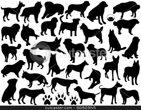 Dogs silhouette collage stock vector clipart, Dogs silhouette collage isolated on white by Ioana Martalogu