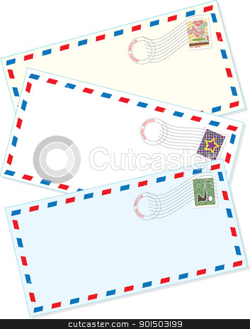 Air Mail Envelopes stock vector clipart, A background comprised of three assorted air mail letter envelopes, with cancelled stamps affixed.  by Maria Bell