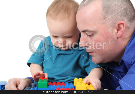 Playing stock photo, Father and son building with colorful blocks by Vanessa Van Rensburg