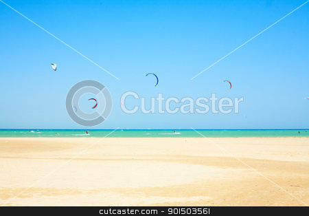 water sport on beach in Africa stock photo, water sport on beach in Africa, kiteboarding by iMarin