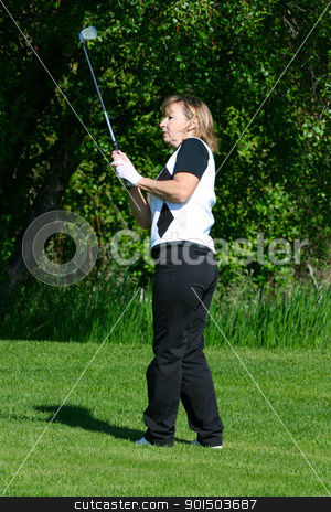 Female golfer stock photo, Blond female golfer playing an iron shot from the fairway by Vanessa Van Rensburg