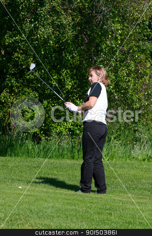 Fairway Shot stock photo, Adult female golfer playing an iron shot from the fairway by Vanessa Van Rensburg