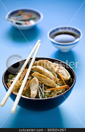 Chicken Chinese Meal stock photo, Photograph of a bowl of noodles with vegetables by mpessaris