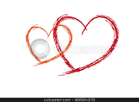 Two Valentine Red love heats  stock vector clipart, Two Red love heats symbol of Valentine day  by Artush