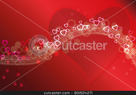 Abstract Valentine love card or background stock vector clipart, Abstract red Valentine love card or background by Artush