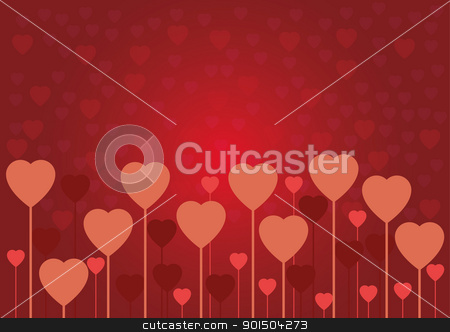 Valentine love card or background stock vector clipart, Abstract red Valentine love card or background by Artush