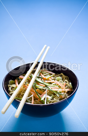 Chinese Meal With Copyspace stock photo, Photograph of a bowl of noodles with vegetables by mpessaris