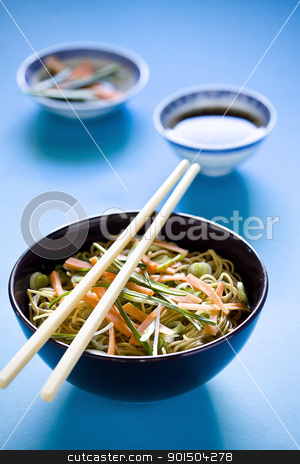 Colorful Chinese Meal stock photo, Photograph of a bowl of noodles with vegetables by mpessaris