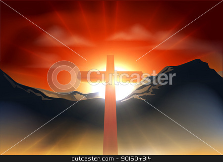 Christian Easter cross concept stock vector clipart, Christian cross with sun rising behind it over a mountain range. Could be used as resurrection Easter concept by Christos Georghiou