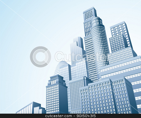 Financial distrait urban city scape stock vector clipart, Illustration of urban skyscraper skyline of office blocks  by Christos Georghiou