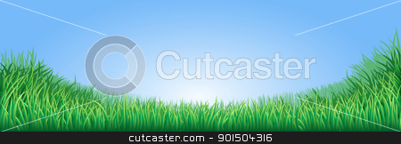 Green grass field illustration stock vector clipart, A lush green field meadow or lawn with bright blue sky by Christos Georghiou