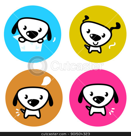 Cute dog colorful buttons isolated on white stock vector clipart, Dog icons collection. Vector Illustration by BEEANDGLOW