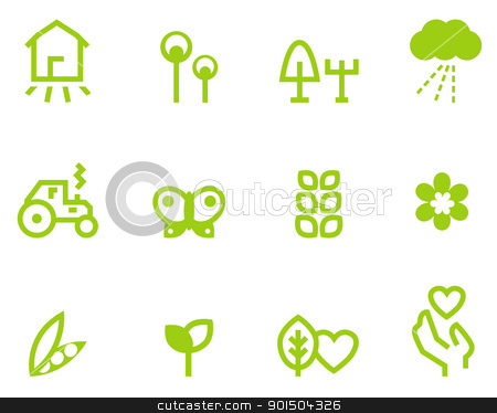 Agriculture & farming icons set isolated on white ( green ) stock vector clipart, Farming, vegetarian & agriculture icon set. Vector Illustration by BEEANDGLOW