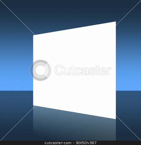 white presentation wall stock photo, A white presentation wall in front of a blue background by Markus Gann