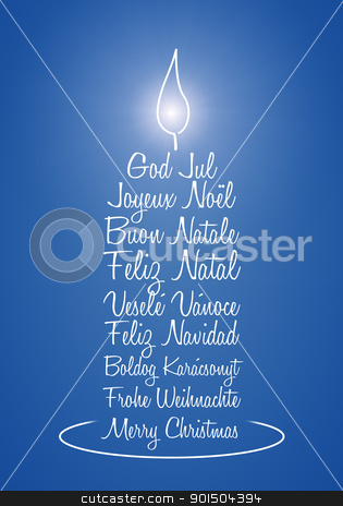 blue christmas candle stock photo, An image of a nice blue christmas greeting candle by Markus Gann
