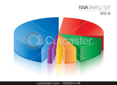 Pie Chart stock vector clipart, This image is a vector file representing a 3d Pie Chart,  all the elements can be scaled to any size without loss of resolution. by Bagiuiani Kostas