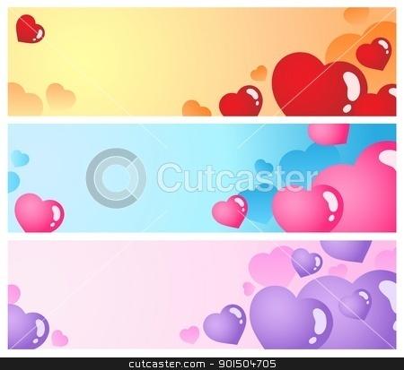 Heart banners collection 1 stock vector clipart, Heart banners collection 1 - vector illustration. by Klara Viskova