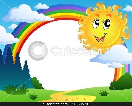 Landscape with rainbow and Sun 2 stock vector clipart, Landscape with rainbow and Sun 2 - vector illustration. by Klara Viskova