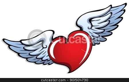 Stylized heart with wings 1 stock vector clipart, Stylized heart with wings 1 - vector illustration. by Klara Viskova