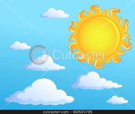 Sun with clouds theme 1 stock vector clipart, Sun with clouds theme 1 - vector illustration. by Klara Viskova