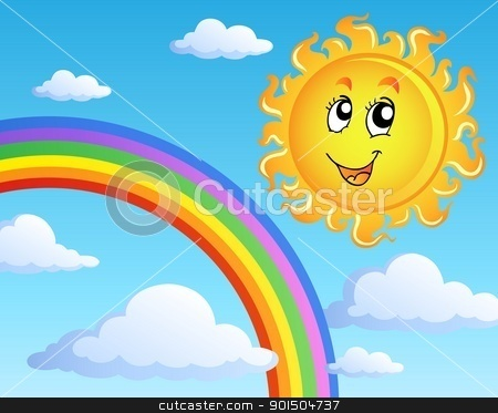 Sun with clouds theme 2 stock vector clipart, Sun with clouds theme 2 - vector illustration. by Klara Viskova