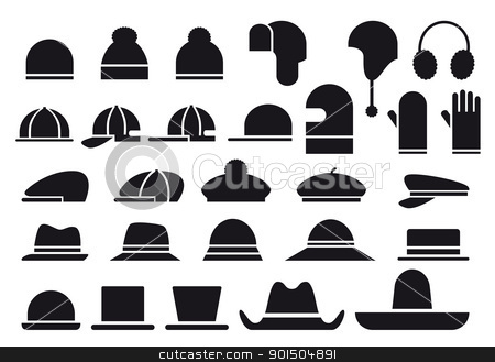 various vector hats stock vector clipart, set of various hats, vector icons by Beata Kraus