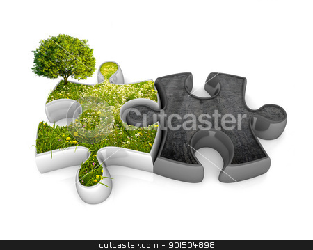 Environment jigsaw puzzle stock photo, Two pieces of puzzle in connection between they with meadow and concrete by Giordano Aita