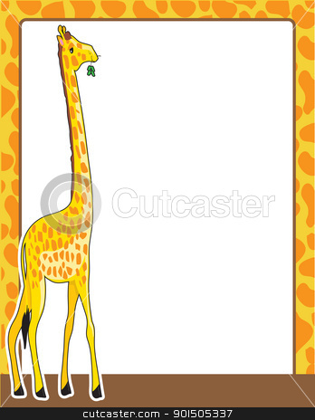 Giraffe Border stock vector clipart, A border framed in a pattern, resembling that of the giraffe standing at the left side of the frame.  by Maria Bell
