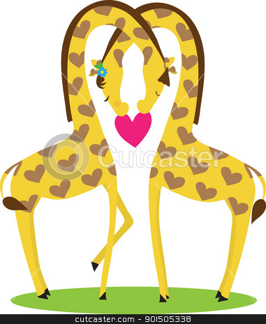 Giraffe Love stock vector clipart, Two giraffes, male and female,  nestled together in the shape of a heart, above a red heart. by Maria Bell