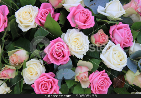 Floral arrangement with roses in white and pink stock photo, Flower arrangement with roses in white and different shades of pink by Porto Sabbia