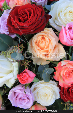 mixed rose bouquet in bright colors stock photo, Bouquet with mixed roses in bright colors lile red and pink by Porto Sabbia