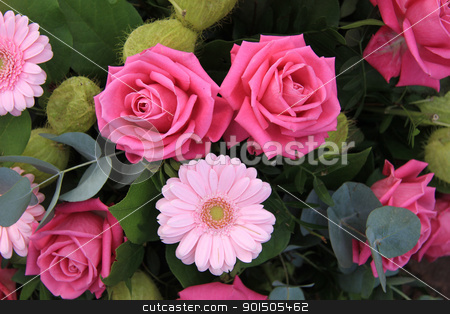 pink roses and gerberas in flower arrangement stock photo, Big pink roses and soft pink gerberas in a flower arrangement by Porto Sabbia