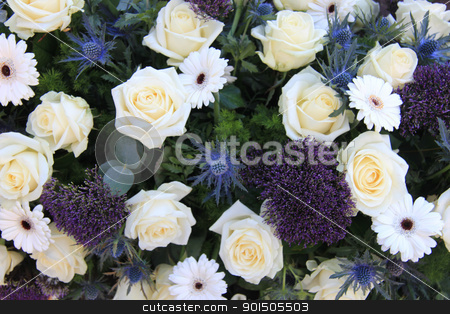 Mixed flowers in white and blue stock photo, Mixed floral arrangement with white roses and blue flowers by Porto Sabbia