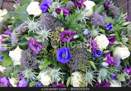 flower arrangement in whte, purple and blue stock photo, Beautiful flower
