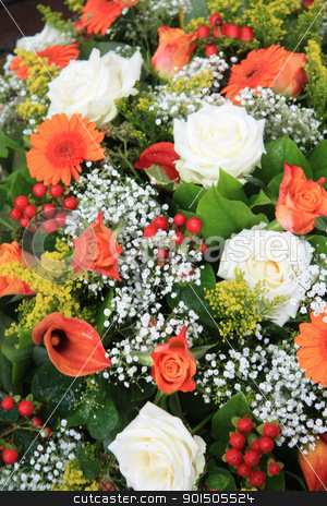 Flower arrangement in orange and white stock photo, Mixed floral arrangement in orange and white by Porto Sabbia