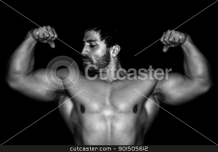 bodybuilding man stock photo, An image of a handsome young muscular sports man by Markus Gann