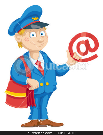 Email for You stock vector clipart, Postman with mail bag and message. by mammothis