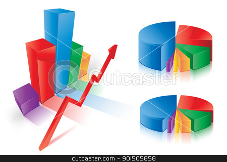 Graph Charts stock vector clipart, This image is a vector file representing a 3d Pie Chart,  all the elements can be scaled to any size without loss of resolution. by Bagiuiani Kostas