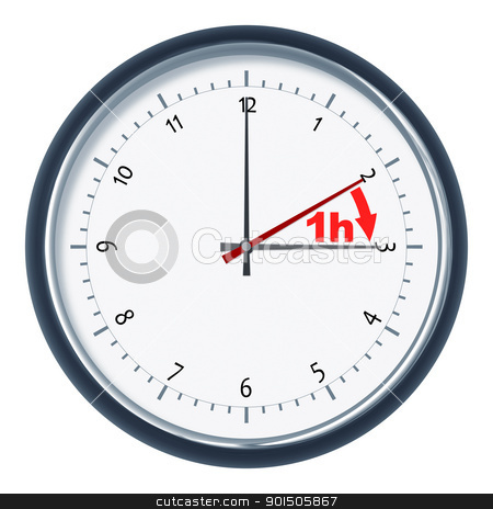 daylight saving time stock photo, An image of a nice clock daylight saving time 1h by Markus Gann