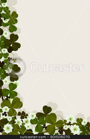 Irish luck card stock vector clipart, Editable text card with clover leaves and flowers for the celebration of St. Patrick's Day by Richard Laschon