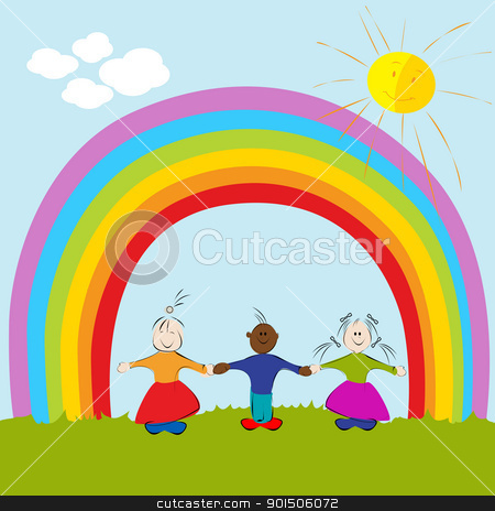 kids on rainbow background stock vector clipart, Graphic illustration of kids on rainbow background by Richard Laschon