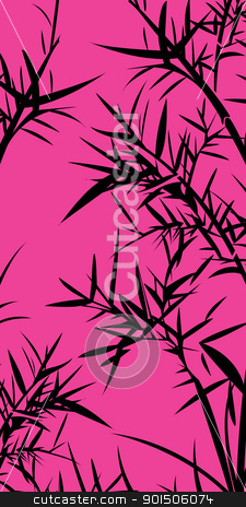 Bamboo foliage stock vector clipart, Black bamboo foliage. Chinese traditional background.  by Richard Laschon