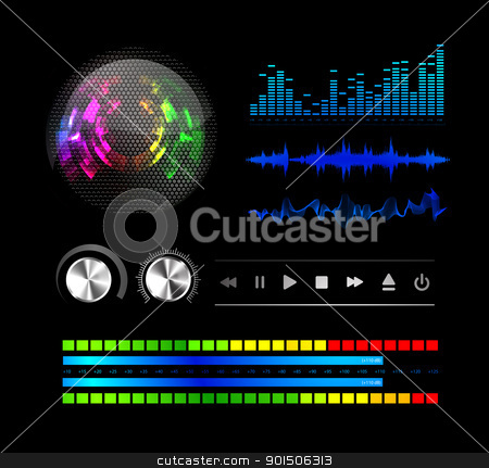 Sound waves set stock photo, Sound waves set and speaker grill. Music background by sermax55