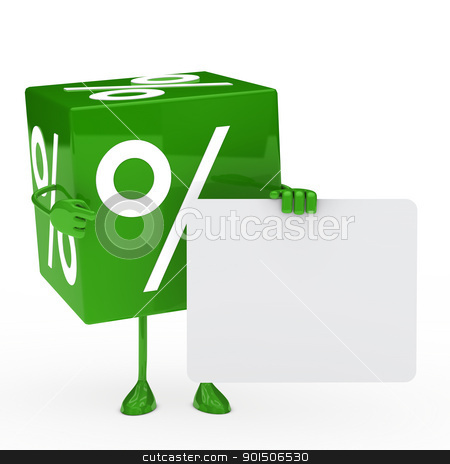 green sale cube stock photo, green sale cube shows finger on billboard by d3images