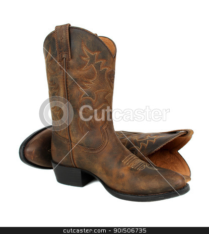 Cowboy boots stock photo, Pair of brown leather cowboy boots on white background by Vanessa Van Rensburg