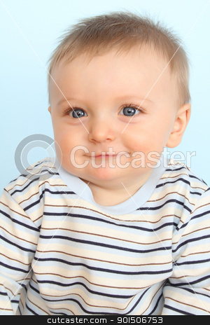 Baby boy stock photo, Beautiful 6 month old baby boy against blue background by Vanessa Van Rensburg